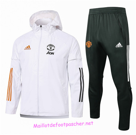 Maillotdefootpascher - Survetement Coupe vent Manchester United Homme Blanc 2020 2021