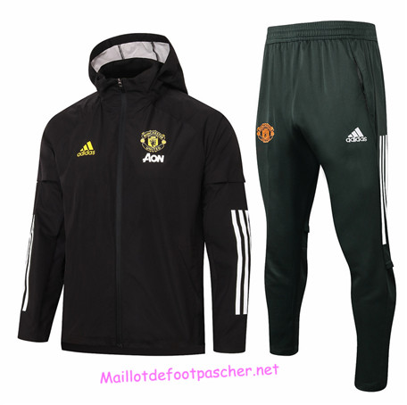 Maillotdefootpascher - Survetement Coupe vent Manchester United Homme Noir 2020 2021