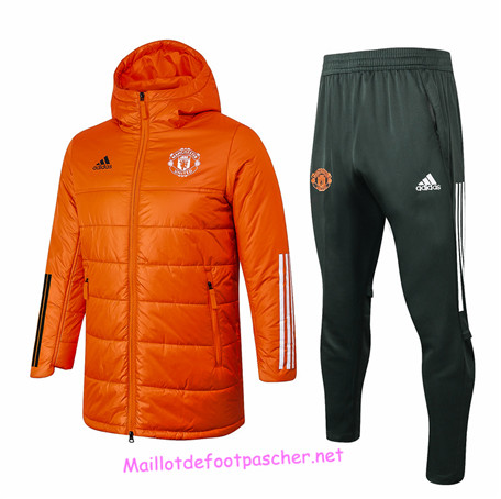 Maillotdefootpascher - Survetement Doudoune Manchester United Homme Orange 2020 2021