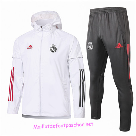 Maillotdefootpascher - Survetement Coupe vent Real Madrid Homme Blanc 2020 2021