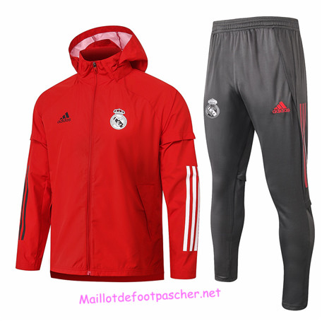 Maillotdefootpascher - Survetement Coupe vent Real Madrid Homme Rouge 2020 2021