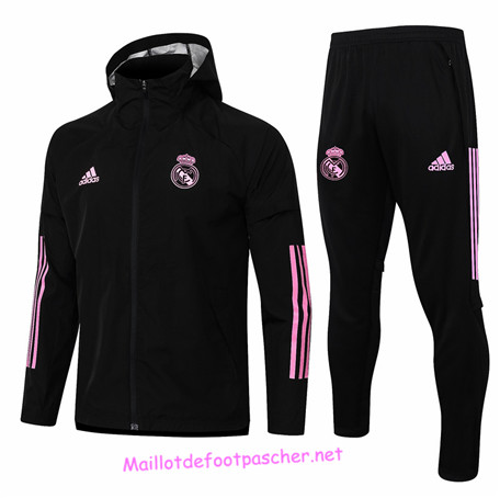 Maillotdefootpascher - Survetement Coupe vent Real Madrid Homme Noir 2020 2021