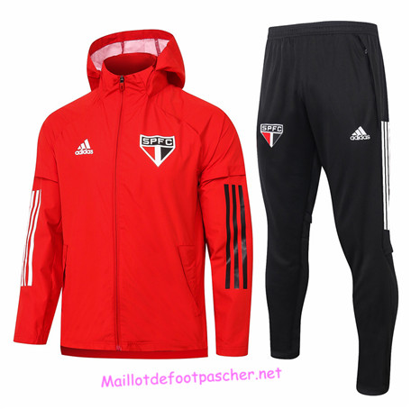 Maillotdefootpascher - Survetement Coupe vent Sao Paulo Homme Rouge 2020 2021