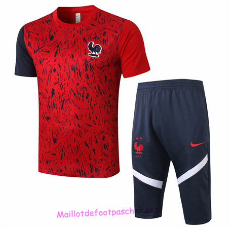Maillotdefootpascher - Maillot De Training France + Pantalon 3/4 Rouge 2020 2021