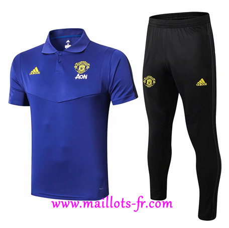 Ensemble POLO Training Manchester United + Pantalon Bleu/Noir 2019/2020