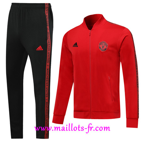 Veste Survetement Manchester United Noir Rouge 2019/2020