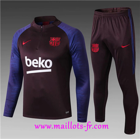 Survetement Barcelone Enfant Bleu/Jujube Rouge 2019/2020 sweat zippé