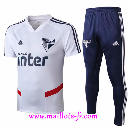 Ensemble Training Sao Paulo + Pantalon Blanc/Bleu 2019/2020
