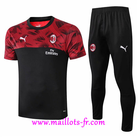 Ensemble Training AC Milan + Pantalon Noir/Rouge 2019/2020