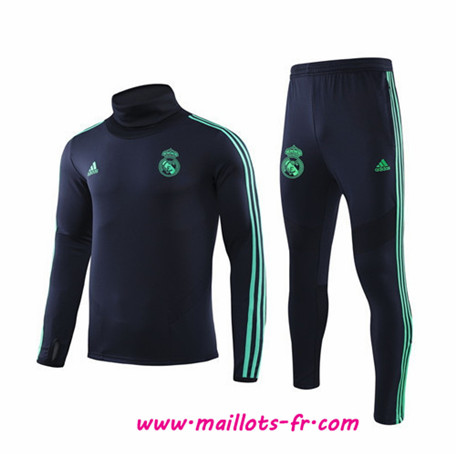 Thailande Ensemble Survetement de Foot Real Madrid Enfant Bleu Marine Col haut 2019 2020
