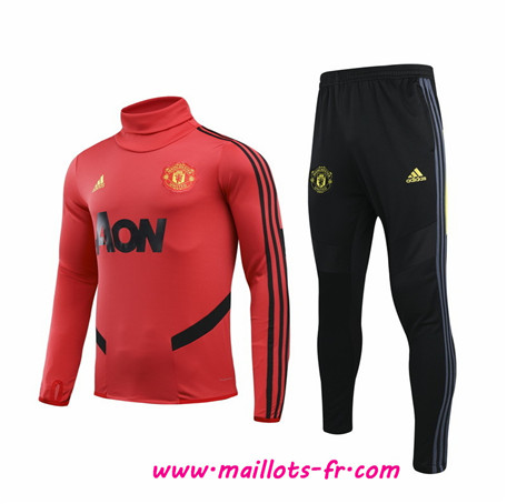 Thailande Ensemble Survetement de Foot Manchester United Enfant Rouge/Noir Col haut 2019 2020