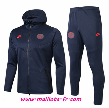 Thailande Sweat a Capuche Survetement de Foot PSG Bleu Marine 2019/2020 Ensemble
