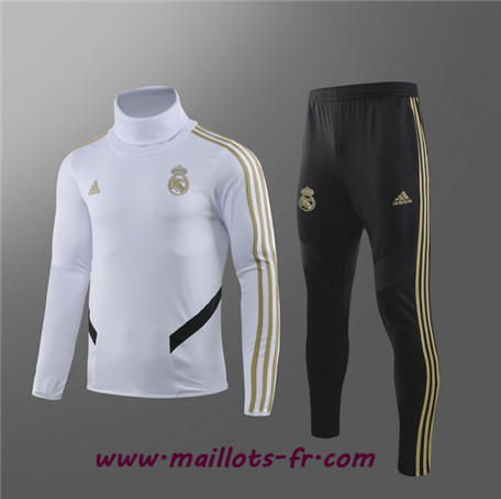 Survetement Real Madrid Enfant kit Blanc Col haut 2019/2020