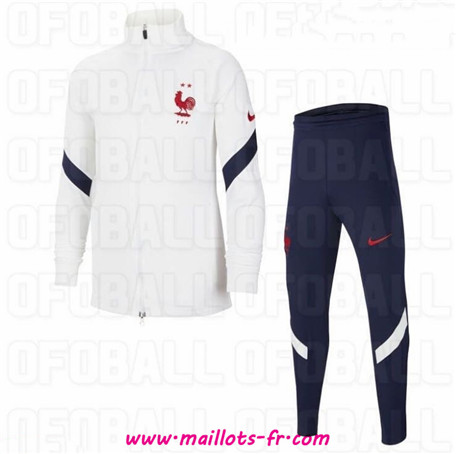 nouveau Ensemble Survetement de Foot France Enfant Veste Survetement Blanc 2020/2021