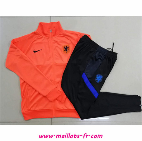 nouveau Ensemble Survetement de Foot Pays-Bas Enfant Veste Survetement Orange 2020/2021