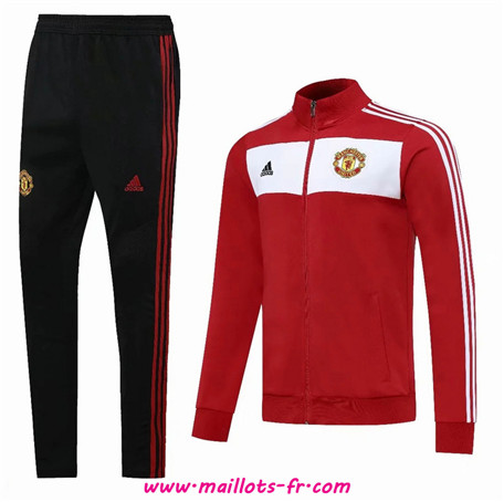 nouveau Ensemble Survetement de Foot - Veste Manchester United Rouge/Blanc/Noir 2020/2021