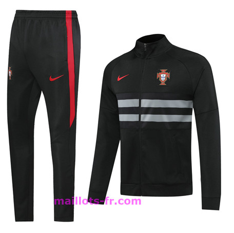 Survetement de Foot - Veste portugal Ensemble Homme Noir 2020 2021 Homme