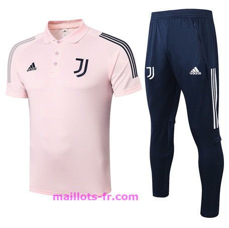 : Officiel Nouveau Maillot foot Ensemble Training Juventus Polo + Pantalon Rose 2020 2021 Homme