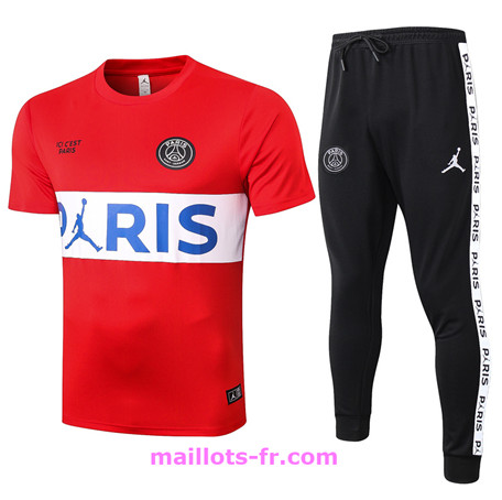 Maillot de foot Ensemble Training Jordan PSG + Pantalon Rouge/Blanc 2020 2021 Homme