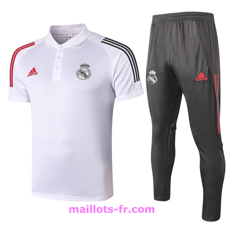 Maillot foot Ensemble Training Real Madrid Polo + Pantalon Blanc 2020 2021 Homme