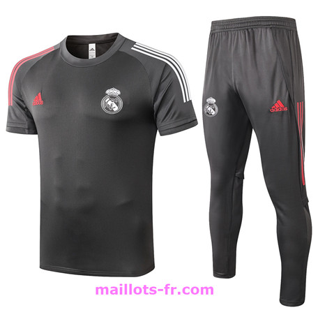 : Officiel Nouveau Maillot foot Ensemble Training Real Madrid + Pantalon Gris foncé 2020 2021 Homme