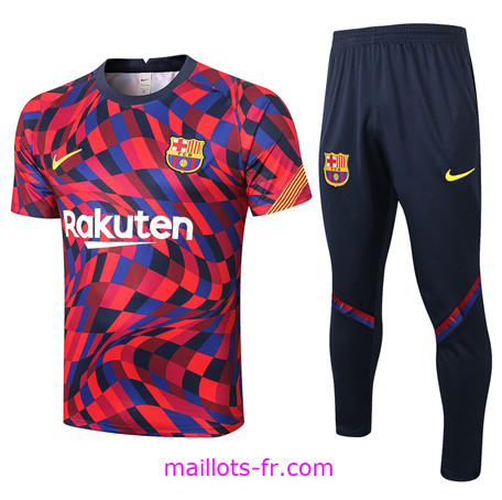 Maillot de foot Training Barcelone + Pantalon Violet/Rouge Rayon 2020 2021