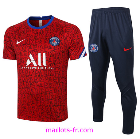 Maillot de foot Training PSG + Pantalon Rouge Paris 2020 2021